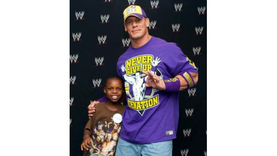 Cena and Ronald pose for photos before Raw in Washington D.C.