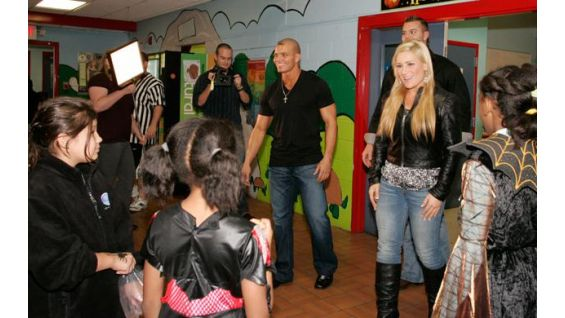The Hart Dynasty arrives at the Boys & Girls Club in Stamford, Conn.