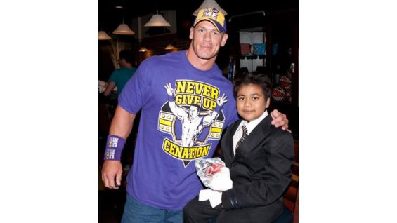 Make-A-Wish Foundation's Jorge Ayala, 10, meets his favorite Superstar.