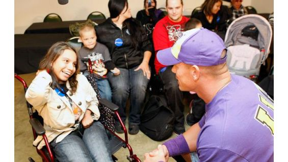 Maricruz Gomez, 18, says hello to John Cena.