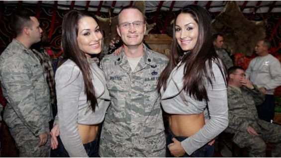 The Bellas shared breakfast with the troops at Manas Air Base.