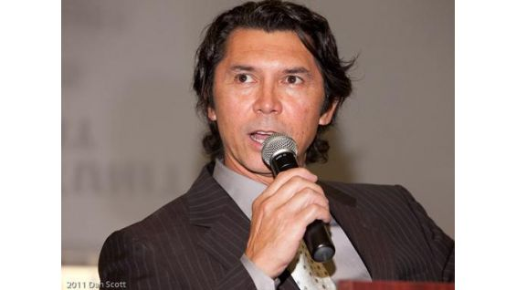 Actor Lou Diamond Philips speaks at the event.