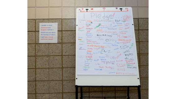 Students at Mill Road pledge not to bully.