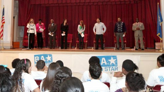 WWE Executive Vice President of Creative Stephanie McMahon and Superstars Santino Marella, David Otunga and Layla led a be a STAR rally at the Jumoke Academy at Milner in Hartford, Conn.