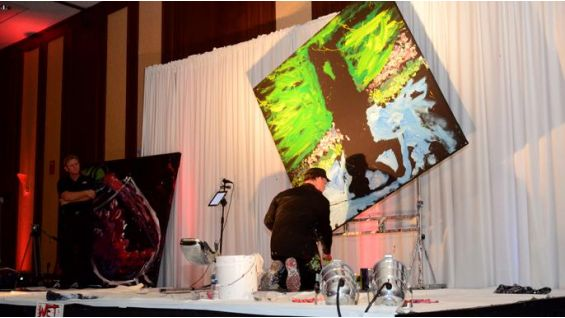 """Dan Dunn's """"Paintjam"""" amazes the audience, as he displays his unbelievable speed painting talent."""