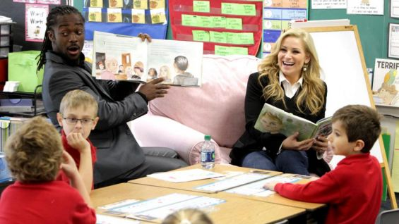 Kingston and Natalya talk to the kids about some of the important lessons in Foley's new book.