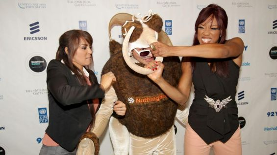 Gore of the UN Foundation says it's her hope that Mozzie the Mosquito gets beat down at WWE arenas all over the world. Here, the two former Divas Champions do their part in the fight.