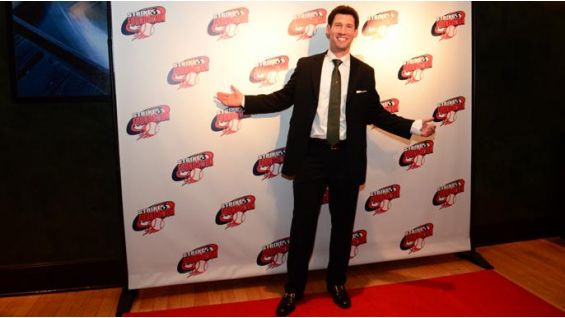 Strike 3 Foundation founder Craig Breslow smiles on the red carpet at the conclusion of a successful auction.