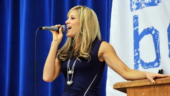 Lilian Garcia urges the students to show tolerance and respect for each other.