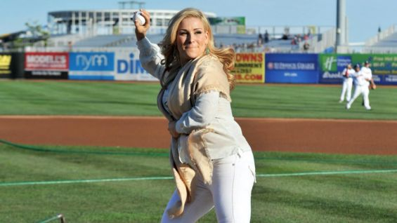 Natalya winds up to throw the ceremonial first pitch.
