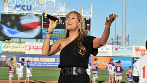 Lilian Garcia delivers a stirring rendition of the national anthem.