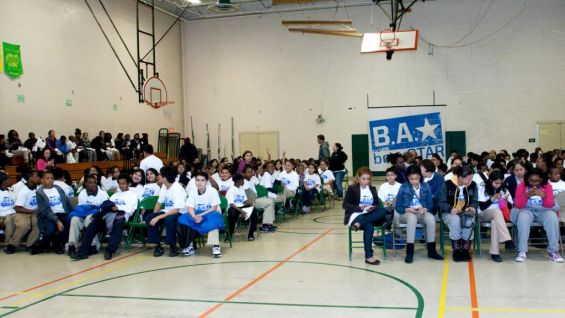 The students listen intently during the rally.