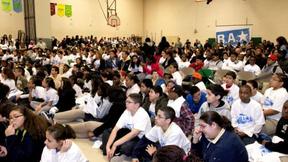More than 800 students at Luis Munoz Marin School in Bridgeport, Conn., gathered to hear WWE Superstars Big Show and David Otunga talk about the dangers of bullying as part of a be a STAR Alliance rally.