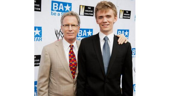 """Executive VP of WWE Studios, Mike Pavone, and """"That's What I Am"""" star Alexander Walters."""