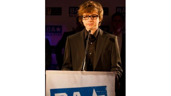 """Angus T. Jones of """"Two and a Half Men"""" addresses the crowd."""