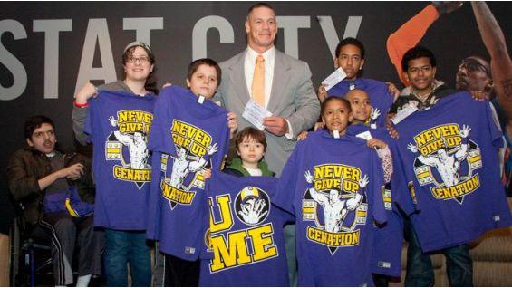 Kids from The Garden of Dreams Foundation meet John Cena at Madison Square Garden.