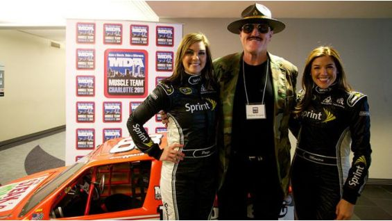 The WWE Hall of Famer with Paige Duke and Monica Palumbo, Miss Sprint Cup.