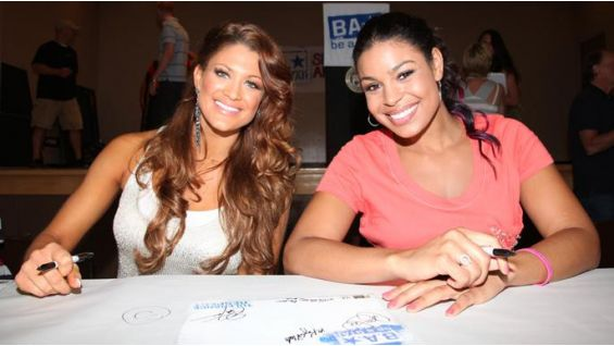 "Eve smiles with singer and ""American Idol"" season six winner, Jordin Sparks."