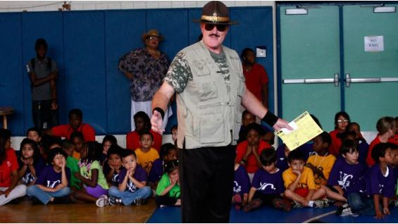 Sgt. Slaughter reinforces the importance of staying in school.