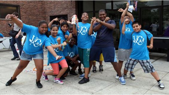 The kids at the Yerwood Center show off some of their favorite Superstar poses.