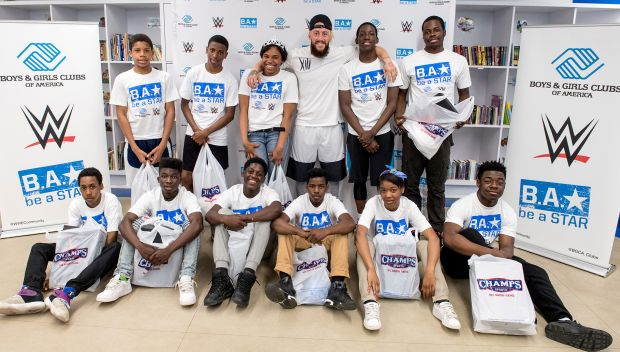 Enzo Amore gives away Jordans at Boys & Girls Club of Newark