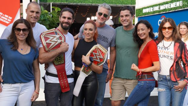 Becky Lynch and Seth Rollins attend Global Citizens Festival