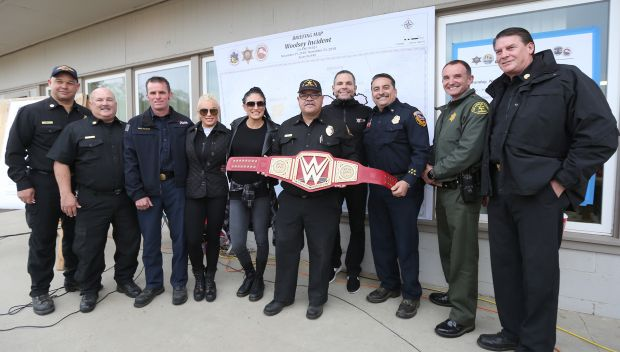 Superstars meet first responders to the California wildfires in LA: photos