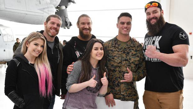 WWE Superstars tour an aircraft hangar at Camp Lejeune: photos
