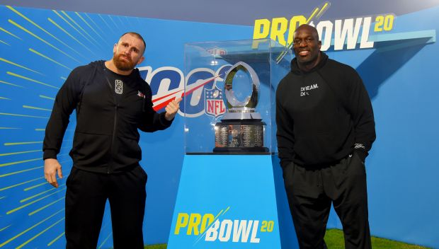 Mojo Rawley and Titus O'Neil at NFL Pro Bowl's Special Olympics Unified Skills & Drills Competition: photos