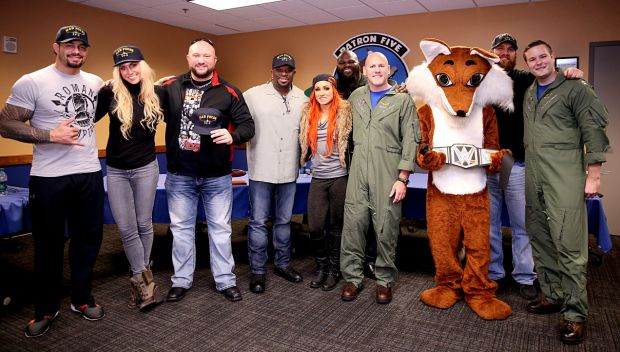 """WWE Superstars and Divas meet the VP-5 """"Mad Foxes"""" at Naval Air Station Jacksonville"""