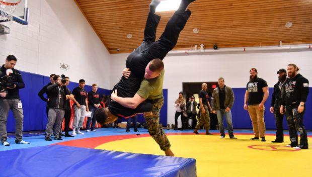 WWE Superstars visit the U.S. Marine Corps wrestling team: photos