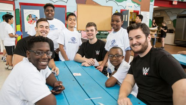 WWE interns join a Day of Service at Stamford Boys & Girls Club: photos