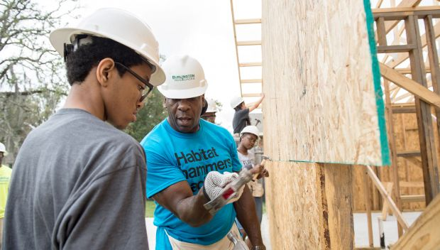 Superstars join a Habitat for Humanity build in Houston: photos