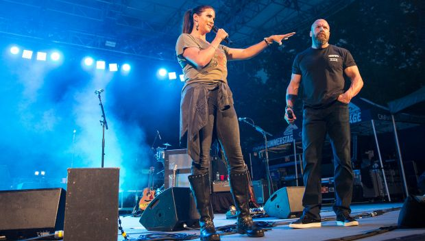 Stephanie McMahon and Triple H introduce O.A.R. at Connor's Cure benefit concert in New York: photos