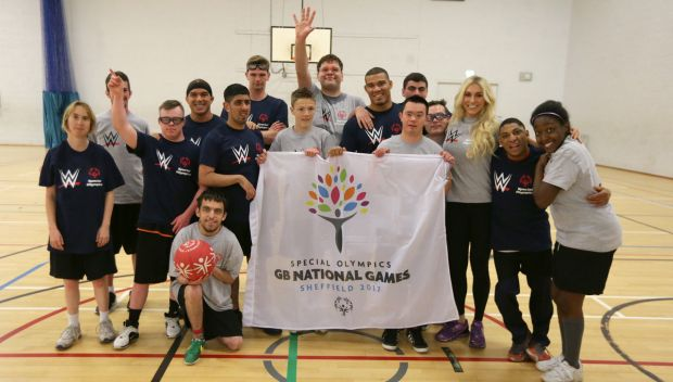 WWE Superstars team with Special Olympics for a basketball game in Sheffield, England: photos