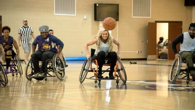 WWE Superstars participate in a wheelchair basketball game: photos