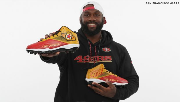 San Francisco 49ers player wears Connor's Cure cleats