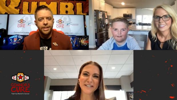 """WWE's The Bump welcomes Stephanie McMahon and """"Superman"""" Jimmy in honor of Pediatric Cancer Awareness Month"""