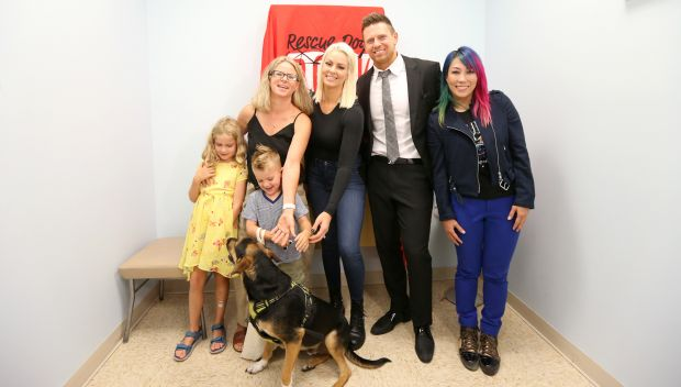Watch The Miz, Maryse & Asuka meet dogs with Rescue Dogs Rock