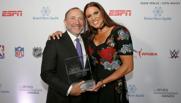 Stephanie McMahon presents The League Humanitarian Leadership Award to the NHL