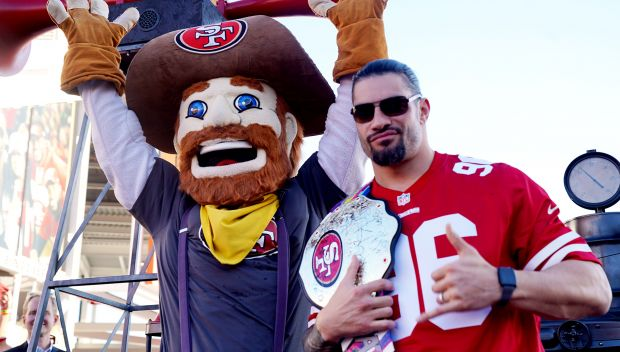 Roman Reigns cheers on Niners for Crucial Catch game