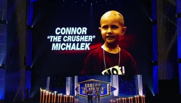 Connor Michalek receives first-ever Warrior Award at 2015 WWE Hall of Fame Induction Ceremony