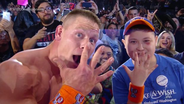 John Cena celebrates his historic 16th World Title win with Make-A-Wish