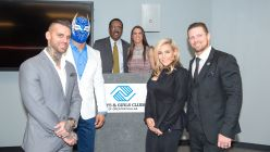 Stephanie McMahon, Natalya, The Miz, Sin Cara and Corey Graves are all smiles at the Be a STAR rally at the East Dallas Boys & Girls Club.