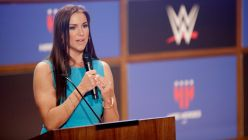WWE Chief Brand Officer Stephanie McMahon addresses veterans and employers at the WrestleMania Veteran Employment Panel and Networking Event in Dallas.