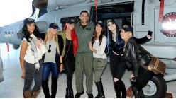"""The cast of """"Total Divas"""" meet the HSM-40 Airwolves at Naval Station Mayport."""