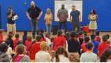 Big Show, Dana Warrior, Titus O'Neil, Sami Zayn and Ember Moon are introduced to the excited fans at the Englewood Neighborhood Center.