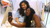 Naomi takes a selfie with one of the kids at Mattel Children's Hospital UCLA.
