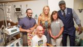 Neville, Summer Rae and Titus O'Neil visit Children's Hospital of Pittsburgh of UPMC before Raw on July 25.