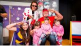 WWE Hall of Famers Jimmy Hart and Hulk Hogan visit the Royal Children's Hospital Melbourne while touring Australia.